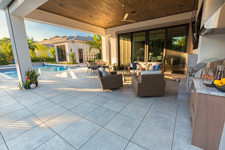 large chrome porcelain pavers